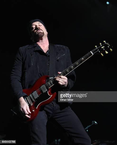Guitarist/producer John Shanks performs with Bon Jovi at TMobile Arena on February 25 2017 in Las Vegas Nevada