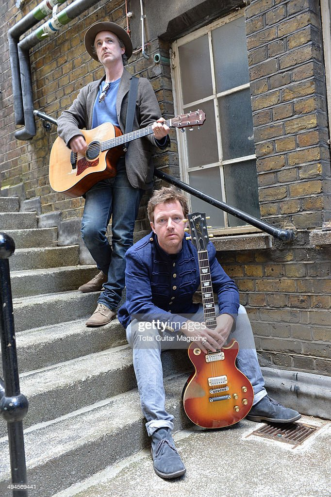 Guitarists Andy Dunlop and Fran Healy of Scottish indie rock group Travis photographed before a performance at Islington Assembly Hall in London on...