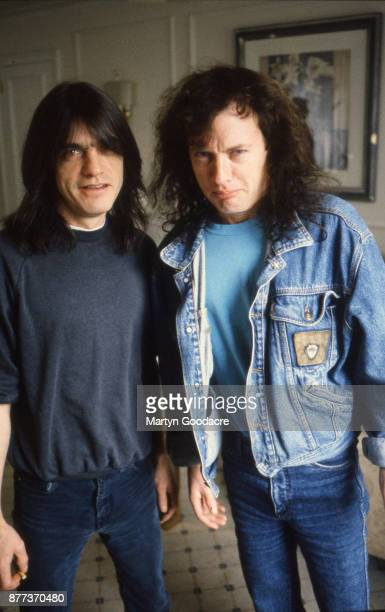 Guitarists Angus Young and his brother Malcolm of Australian rock band AC/DC Germany 1992