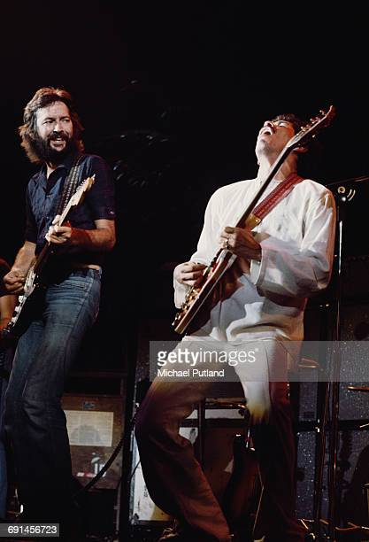 Guitarists Eric Clapton and Carlos Santana performing during a US tour 1st July 1975 Santana is Clapton's support act