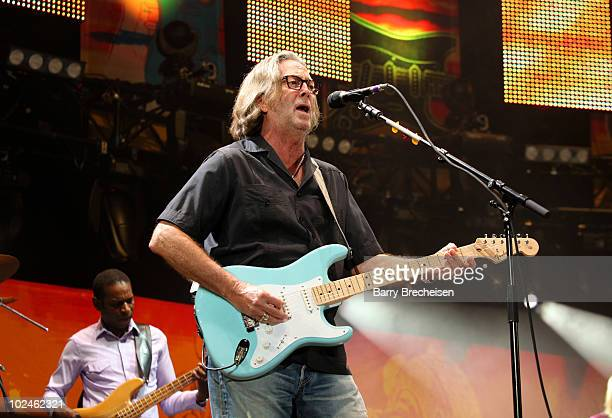 Guitarists Eric Clapton performs onstage during the 2010 Crossroads Guitar Festival at Toyota Park on June 26 2010 in Bridgeview Illinois