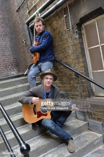 Guitarists Fran Healy and Andy Dunlop of Scottish indie rock group Travis photographed before a performance at Islington Assembly Hall in London on...