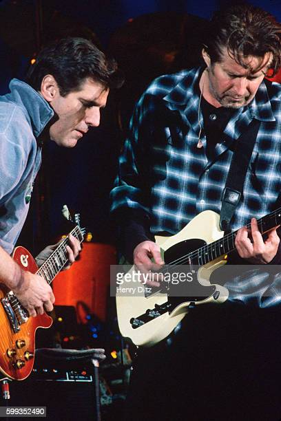 Guitarists Glenn Frey and Don Henley play with The Eagles on their 'Hell Freezes Over' tour of 1995 The Eagles were the most popular band of the...