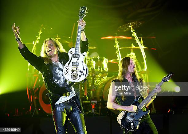 Guitarists Joel Hoekstra and Reb Beach of Whitesnake perform at The Joint inside the Hard Rock Hotel Casino as the band tours in support of 'The...