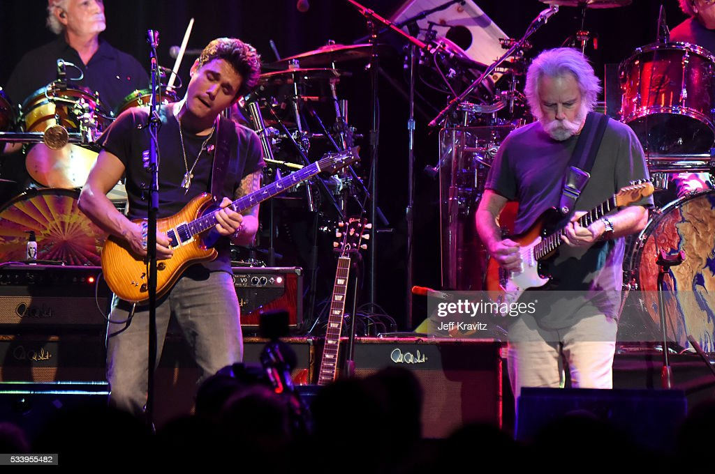 Guitarists John Mayer and Bob Weir of Dead and Company perform during the 'Pay it Forward' concert at The Fillmore on May 23, 2016 in San Francisco, California.