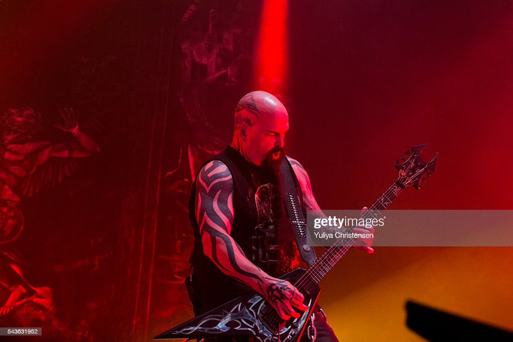 Guitarists <a gi-track='captionPersonalityLinkClicked' href=/galleries/search?phrase=Kerry+King&family=editorial&specificpeople=236089 ng-click='$event.stopPropagation()'>Kerry King</a> from Slayer performs at Roskilde Festival on June 29, 2016 in Roskilde, Denmark.