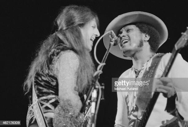 Guitarists Patrick Simmons and Tiran Porter performing with American rock group The Doobie Brothers at the Rainbow Theatre London 31st January 1974