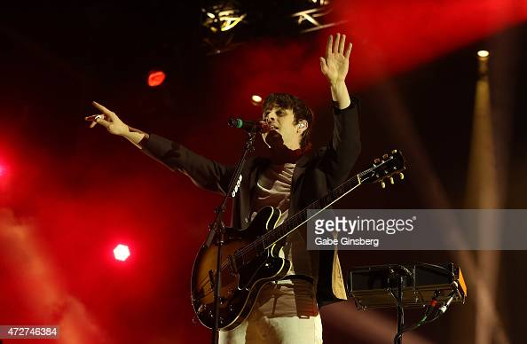 Guitarist/singer Mark Foster of Foster the People performs during Rock in Rio USA at the MGM Resorts Festival Grounds on May 8 2015 in Las Vegas...