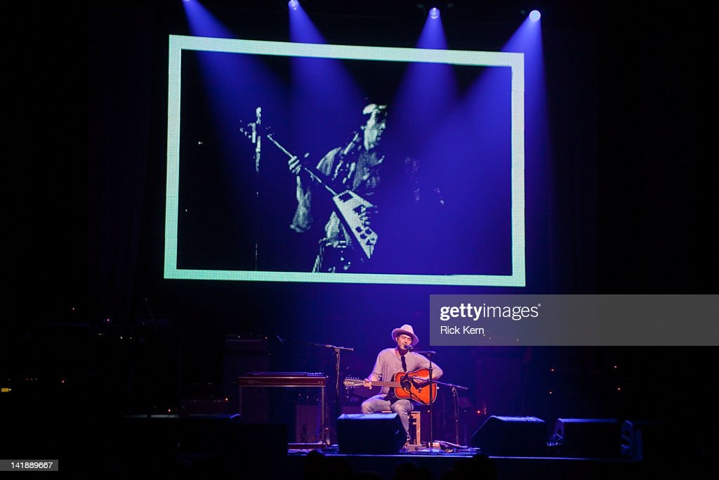 Guitarist/vocalist <a gi-track='captionPersonalityLinkClicked' href=/galleries/search?phrase=Doyle+Bramhall+II&family=editorial&specificpeople=3733577 ng-click='$event.stopPropagation()'>Doyle Bramhall II</a> performs as part of the Experience Hendrix Tribute at ACL Live on March 24, 2012 in Austin, Texas.