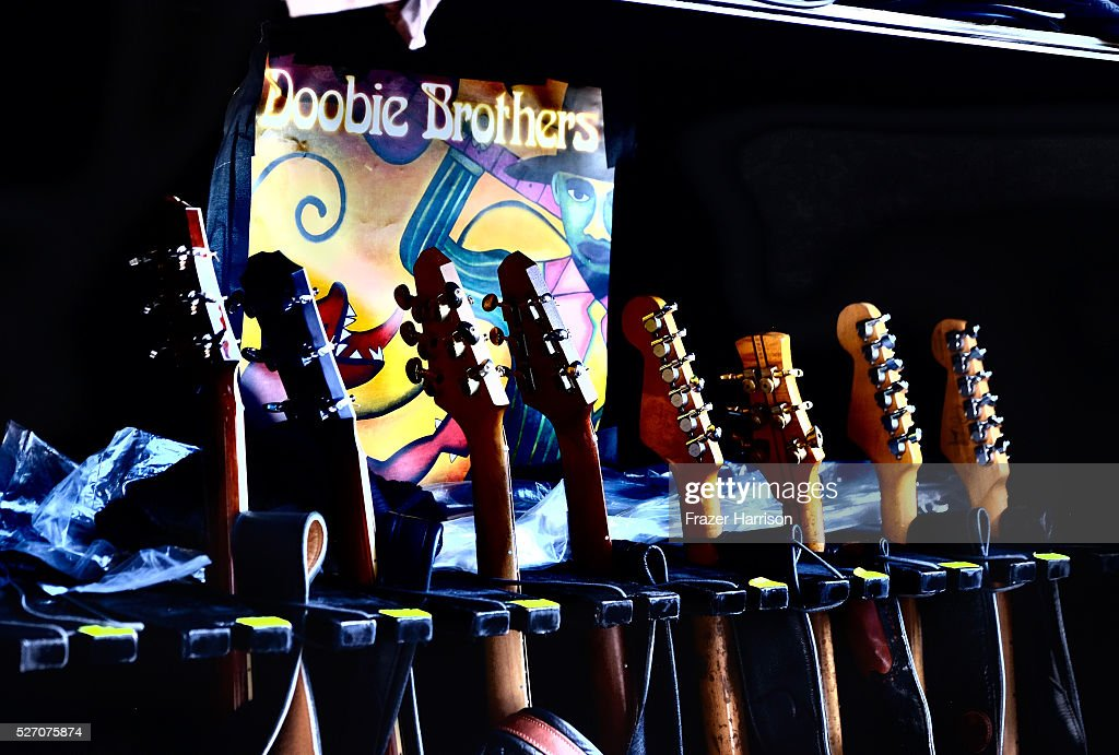 Guitars are seen backstage during 2016 Stagecoach California's Country Music Festival at Empire Polo Club on May 01, 2016 in Indio, California.