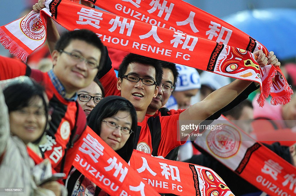 Guizhou fans hold scarves aloft as they enjoy the pre-match atmosphere during the AFC Asian Champions League match between the Central Coast Mariners and Guizhou at Bluetongue Stadium on April 3, 2013 in Gosford, Australia.