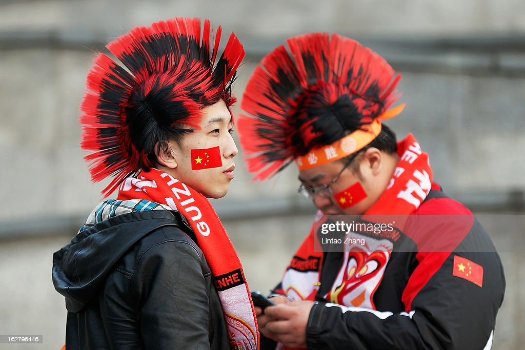 Guizhou Renhe fans arrive at the stadium before the AFC Champions League match between Guizhou Renhe and Kashiwa Reysol on February 27, 2013 in Guiyang, China.