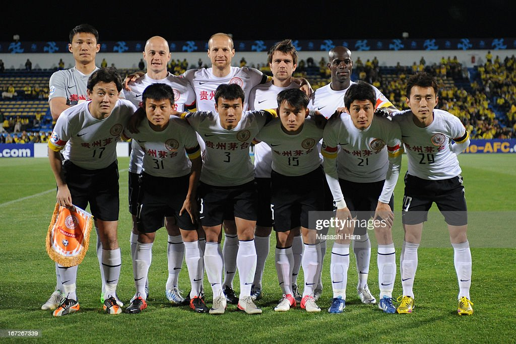 Guizhou Renhe players pose for photograph prior to the AFC Champions League Group H match between Kashiwa Reysol and Guizhou Renhe at Hitachi Kashiwa Soccer Stadium on April 23, 2013 in Kashiwa, Japan.