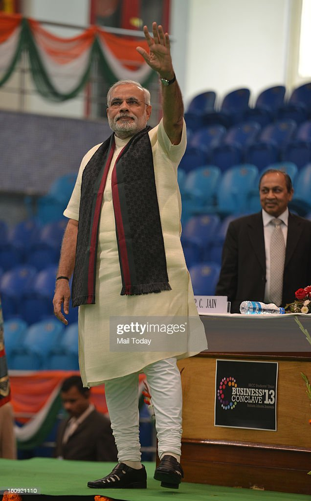 Gujarat Chief Minister Narendera Modi at the annual Shri Ram Memorial Oration as part of Shri Ram College of Commerce management festival Business Conclave 2013 in New Delhi on Wednesday.