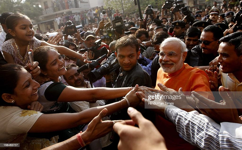 Gujarat chief minister Narendra Modi after casting his vote at Ranip during the last phase assembly poll at Ahmedabad on December 17, 2012 in Gujarat, India.