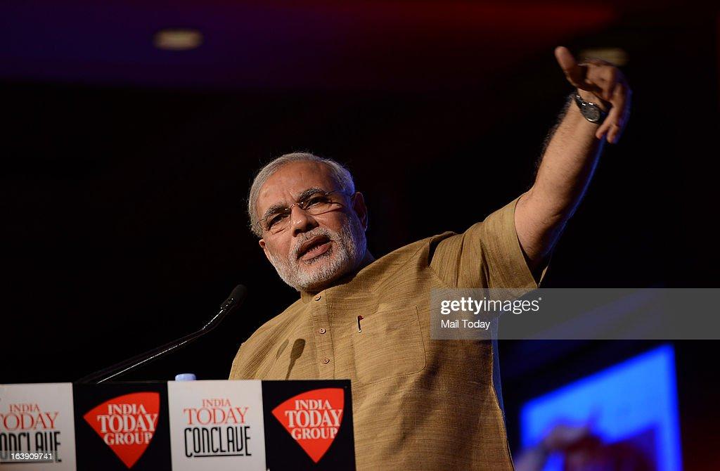 Gujarat chief minister Narendra Modi at the India Today Conclave 2013 in New Delhi.