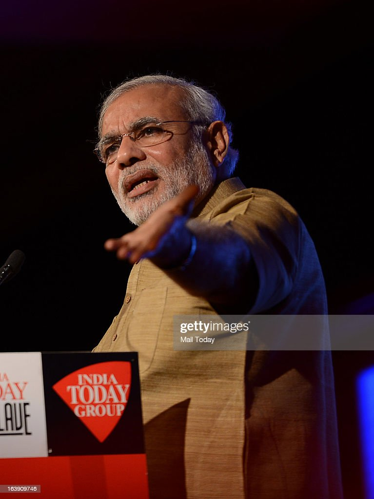 Gujarat chief minister Narendra Modi at the India Today Conclave 2013 in New Delhi.