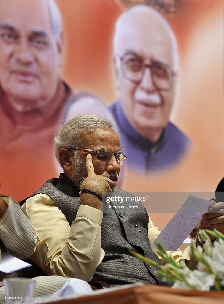 Gujarat Chief Minister Narendra Modi during the last day of the Party National Council Meeting on March 3, 2013 in New Delhi, India. Party meeting, which is aimed at strategising for the upcoming assembly and general elections as also looking at a reorganisation of the party structure.