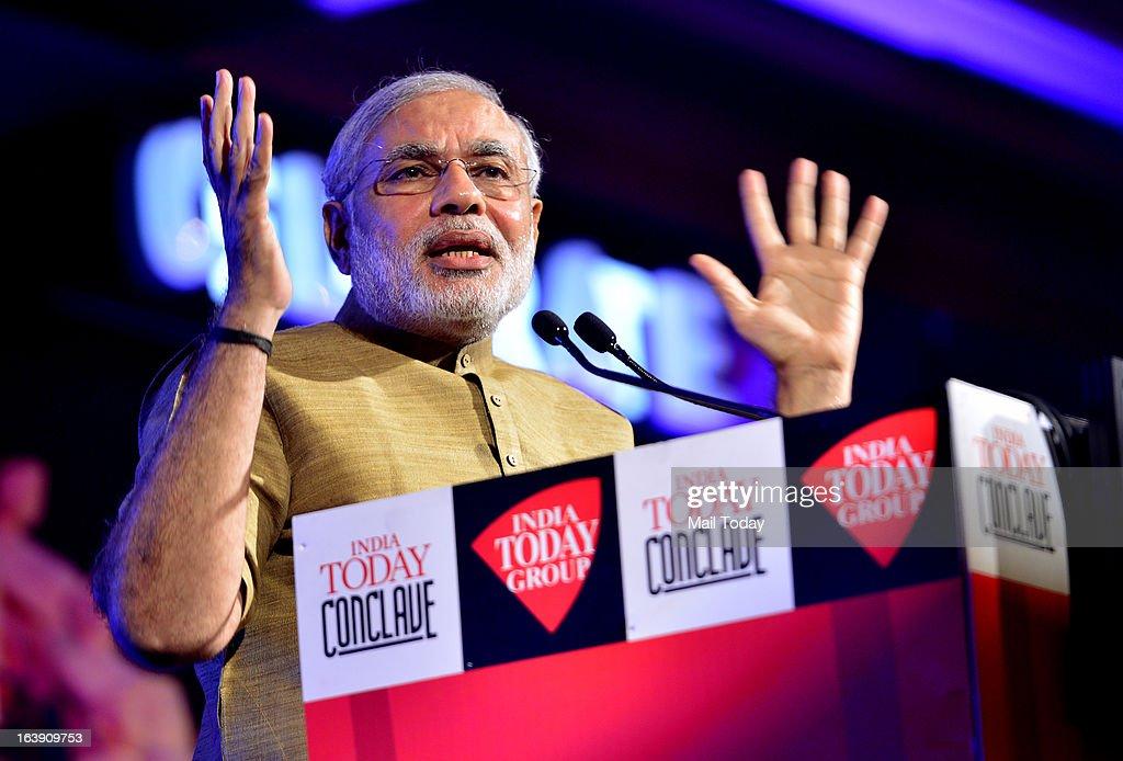 Gujarat chief minister Narendra Modi speaks at the India Today Conclave 2013 in New Delhi.