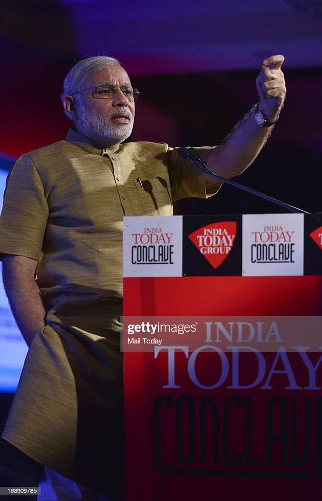 Gujarat chief minister Narendra Modi speaks at the India Today Conclave 2013 in New Delhi.