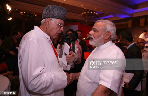 Gujarat Chief Minister Narendra Modi with Farooq Abdullah during 10th India Today Conclave being held in the capital on March 1819 2011 at Taj Palace...