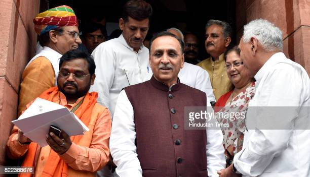 Gujarat Chief Minister Vijay Rupani after swearingin ceremony of President Ram Nath Kovind at Parliament on July 25 2017 in New Delhi India Ram Nath...
