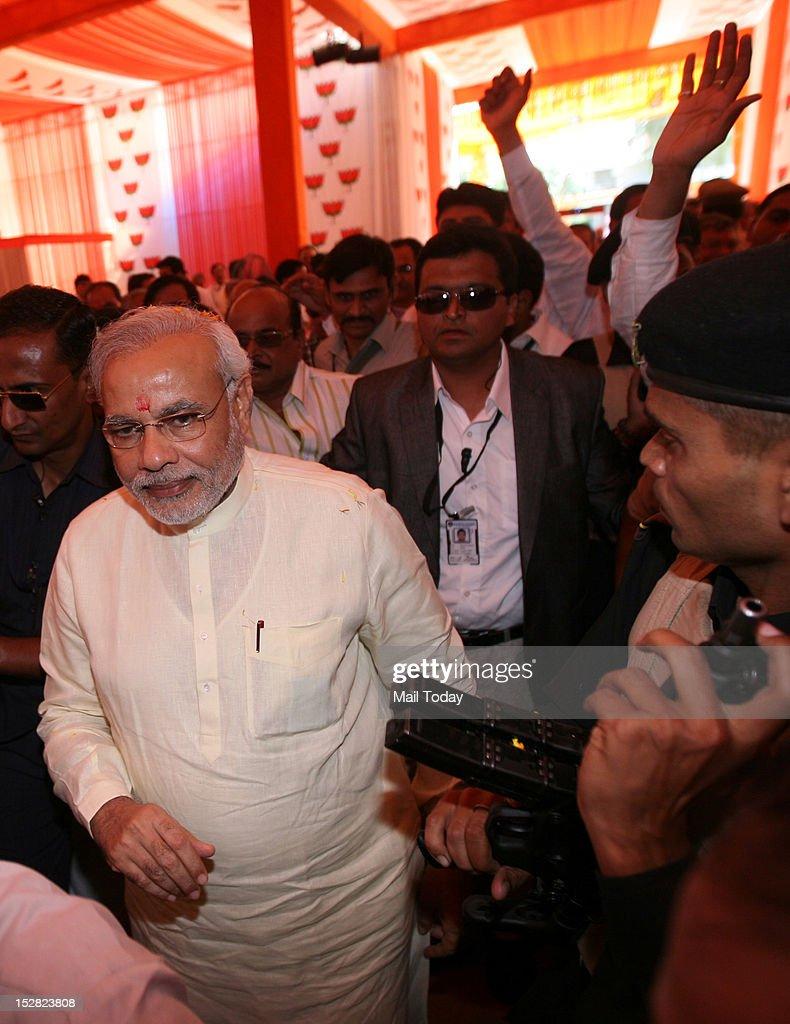 Gujarat CM Narendra Modi at BJP National Executive Council meeting at Surajkund, Faridabad on Wednesday.