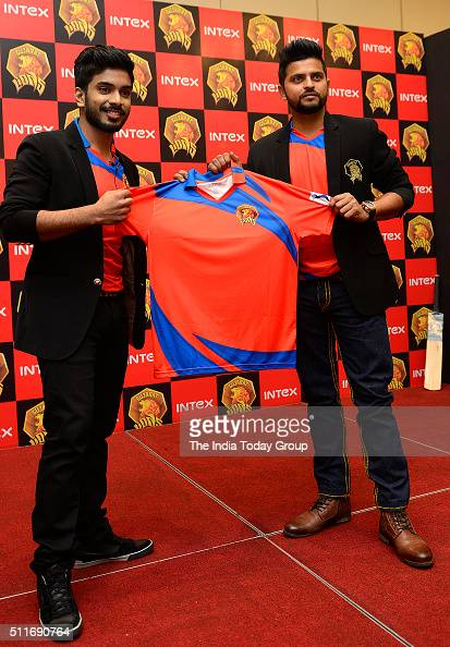 Gujarat Lions owner Keshav Bansal and team captain Suresh Raina at the unveiling of the official team jersey for IPL Season 9 in New Delhi
