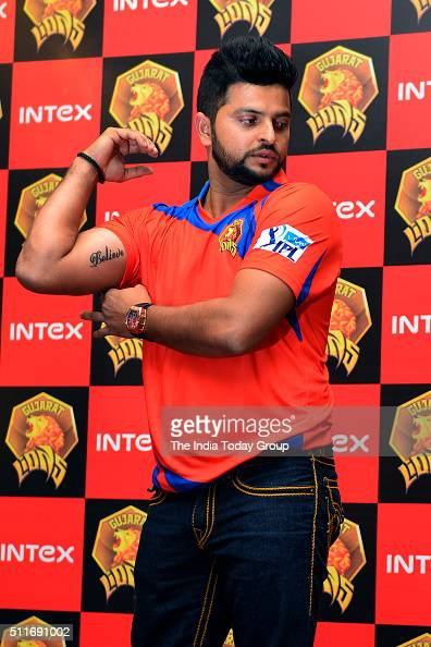 Gujarat Lions team captain Suresh Raina at the unveiling of the official team jersey for IPL Season 9 in New Delhi