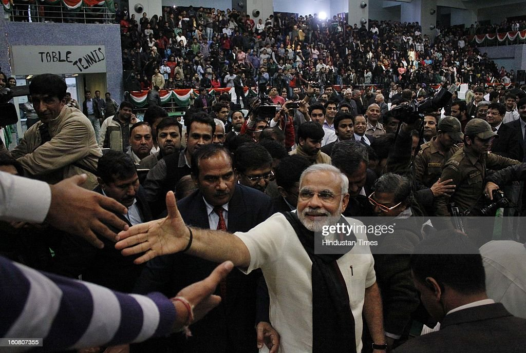 Gujarat State Chief Minister Narendra Modi addresses at Shri Ram College of Commerce in Delhi University North campus on February 6, 2013 in New Delhi, India.