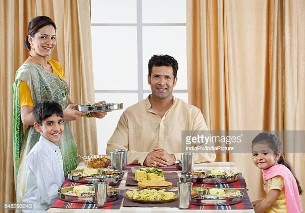 Gujarati family having lunch