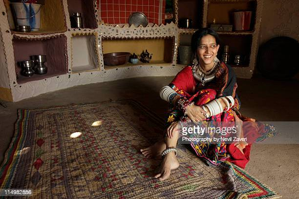 Gujarati woman wearing big grin, Ludia, Kutch