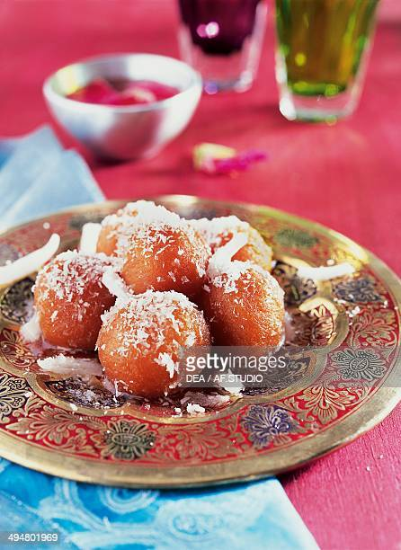 Gulab jamun milk solid and flour dumplings soaked in a sugary syrup India