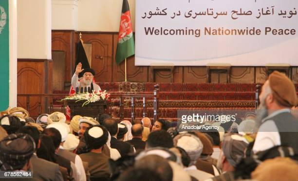 Gulbuddin Hekmatyar leader of the Hezbe Islami Party speaks to audience on a press conference during the special welcoming ceremony in honour of...