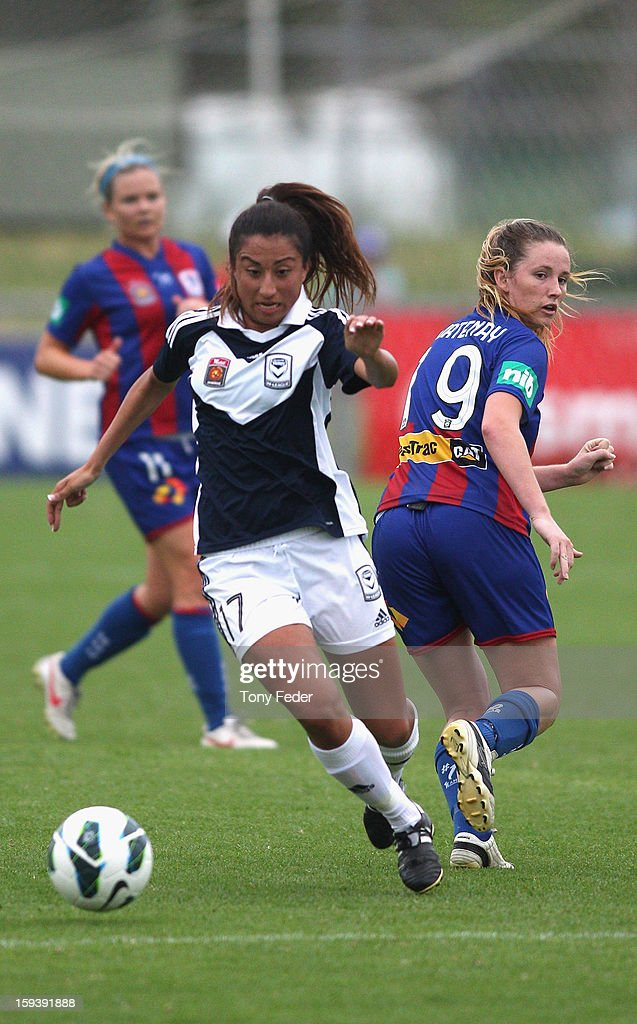 Gulcan Koca of the Melbourne Victory controls the ball during the round 12 W-League match between the Newcastle Jets and the Melbourne Victory at Wanderers Oval on January 13, 2013 in Newcastle, Australia.