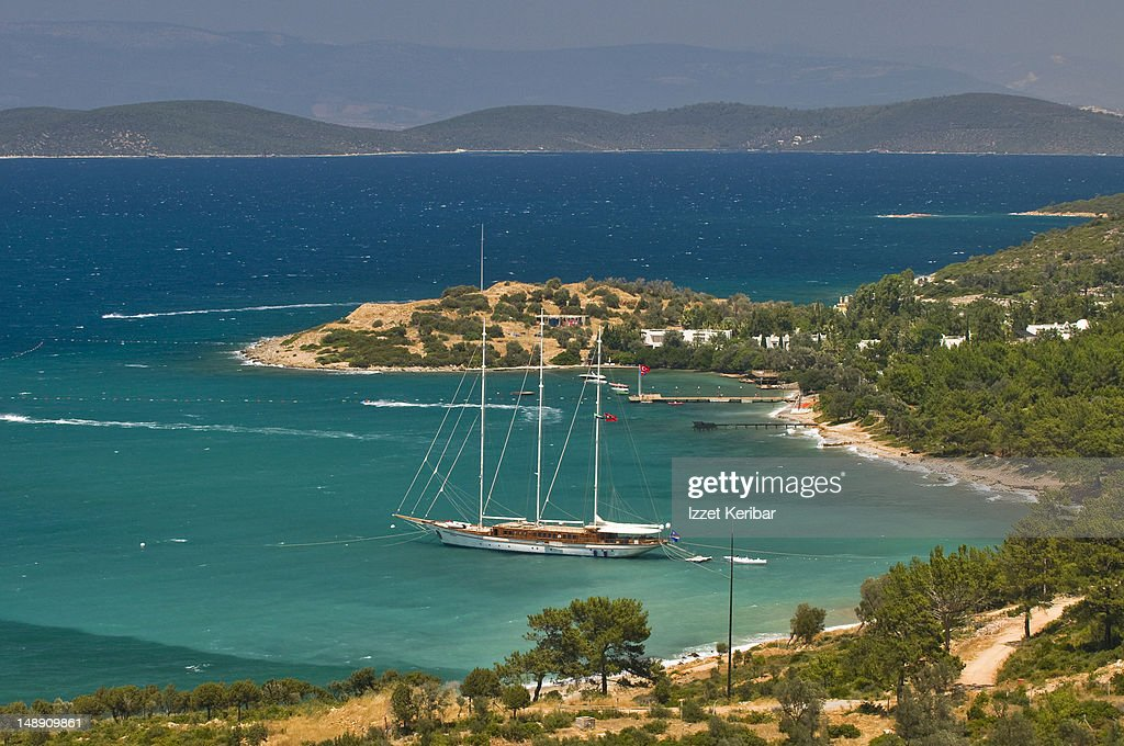 Gulet (traditional Turkish wooden sailing vessel) moored in bay. : Stock Photo