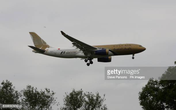 A Gulf Air Airbus A330 plane lands at Heathrow Airport in Middlesex