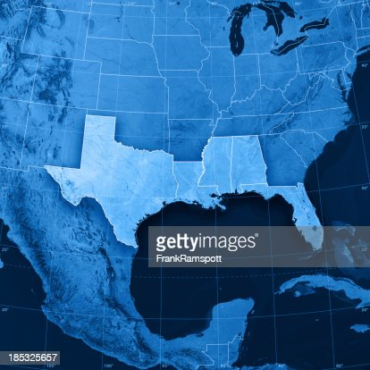 Gulf Coast States Usa Topographic Map Stock Photo Getty Images - Map of gulf states usa