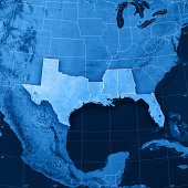 """3D render and image composing: Topographic Map of the five Gulf Coast States of the United States of America: Texas, Louisiana, Mississippi, Alabama and Florida. Including country/state borders, rive"
