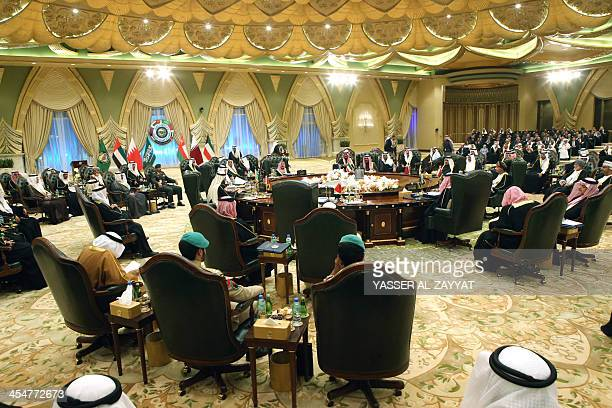Gulf Cooperation Council ministerial leaders gather for the 34th summit of the Gulf Cooperation Council at Bayan Royal Palace in Kuwait City on...
