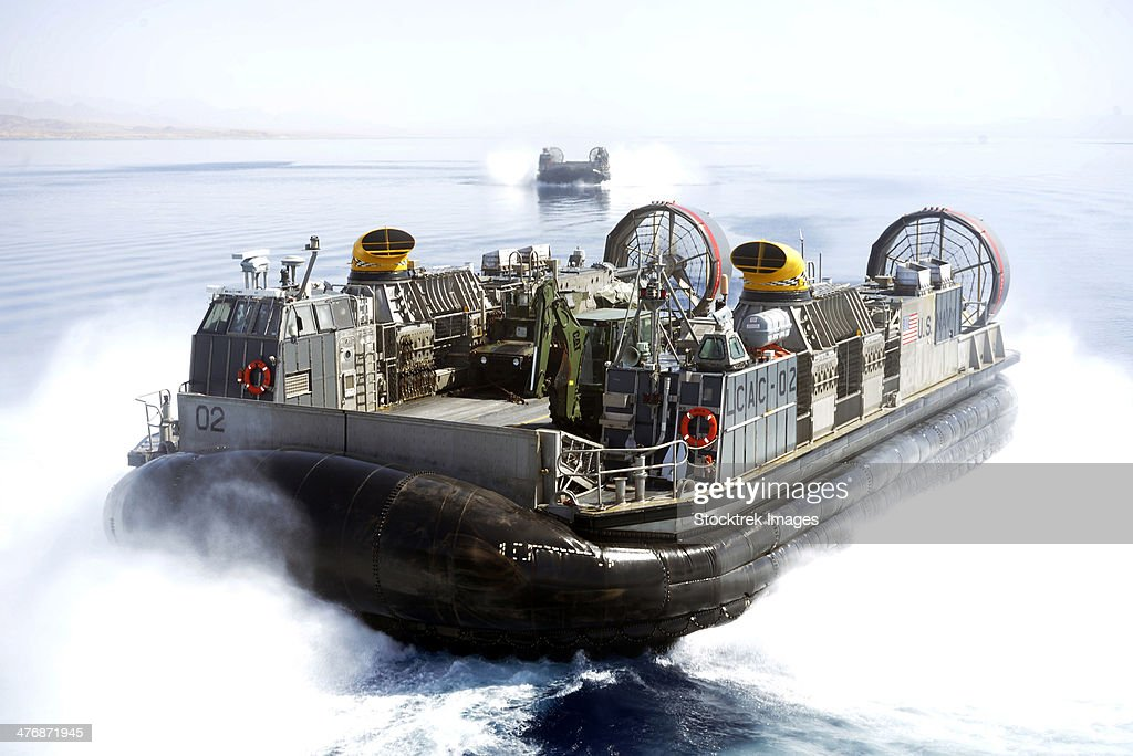 Gulf of Aqaba, June 6, 2013 - Landing craft air cushions  from Assault Craft Unit 4 conduct operations at sea while assigned to the amphibious transport dock ship USS San Antonio.