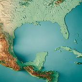 3D Render of a Topographic Map of the Gulf of Mexico, Central America. All source data is in the public domain. Color texture and Rivers: Made with Natural Earth.  http://www.naturalearthdata.com/down