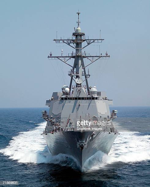 'Gulf of Mexico (June 27, 2005) ? The Pre-Commissioning Unit guided missile destroyer Forrest Sherman (DDG 98) underway in the Gulf of Mexico during sea trial exercises.'