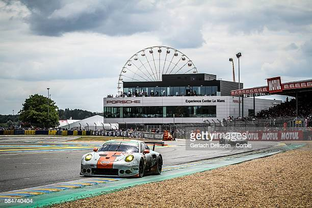 Gulf Racing UK #86 Porsche 911 RSR with Drivers Michael Wainwright Adam Carroll and Benjamin Barker during the 84th running of the Le Mans 24 Hours...