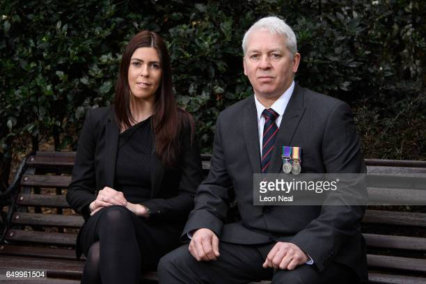 Gulf War veteran Andrew Whittaker and his daughter Vicki outside the Ministry of Defence HQ on March 3 2017 in Whitehall England Andrew Whittaker...