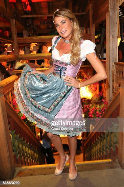 Gulia Siegel wearing a dirndl by Lola Paltinger during the Oktoberfest at Kaeferzelt at Theresienwiese on September 25 2017 in Munich Germany