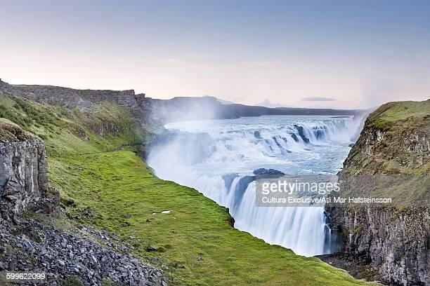 Gullfoss waterfall and volcanic landscape, Hvata river, Arnessysla, Iceland