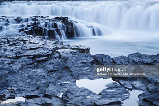 Gullfoss waterfall and volcanic rock, Hvata river, Arnessysla, Iceland