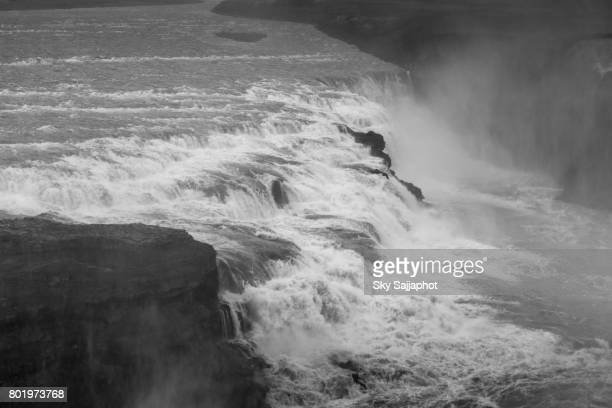 Gullfoss waterfall in Iceland black and white with dramatic