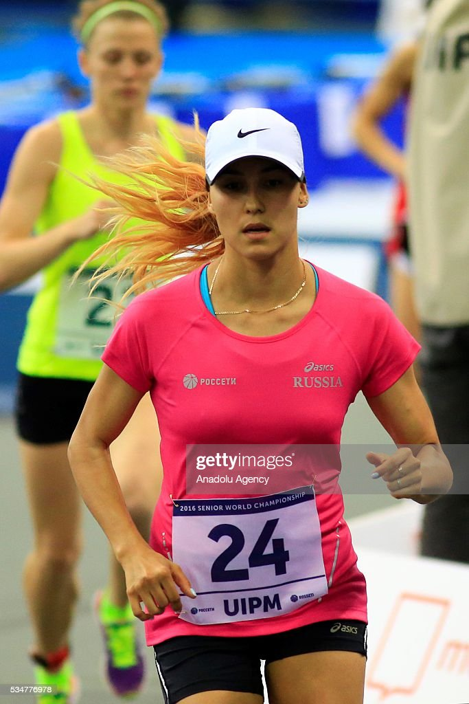 Gulnaz Gubaydullina of Russia competes during the women's final at the UIPM senior modern pentathlon world championships in Moscow, Russia, on May 27, 2016.